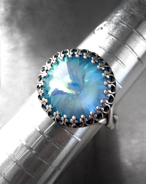 Mystical Blue Ghost Swarovski Crystal Rivoli Adjustable Ring