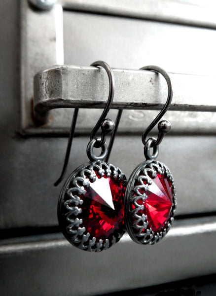 Blood Red Swarovski Crystal Earrings with Gothic Crown Bezels