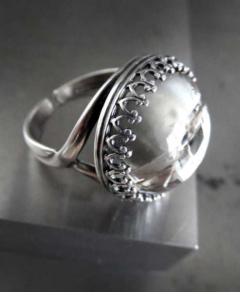 Quiet Reflection - Vintage Swarovski Crystal Ring with Crown Bezel
