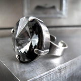 Modern Swarovski Crystal Rivoli Ring in Black Night Crystal