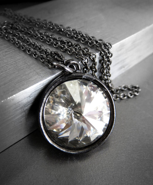 Full Moon Necklace - Modern Swarovski Crystal Rivoli in Silver & Black