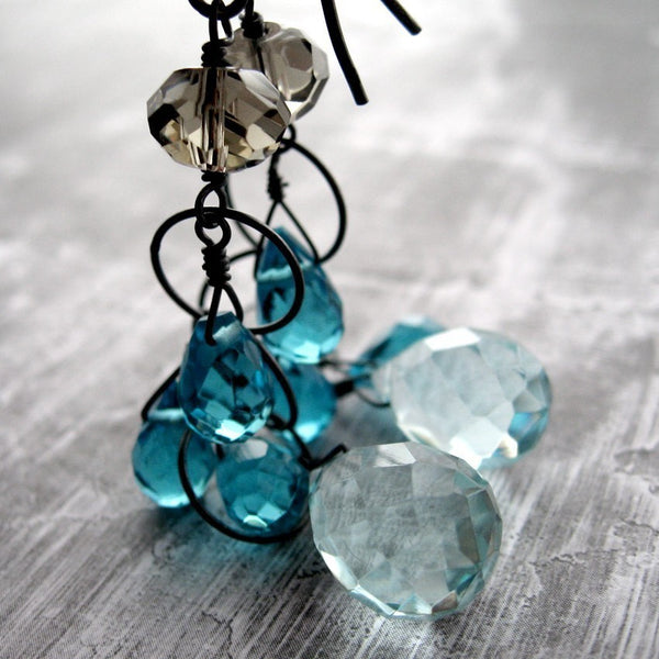 Aqua Rain Teardrop Earrings with Oxidized Sterling Silver