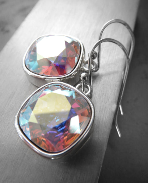 Swarovski Crystal Clear AB Earrings with Silver Bezels
