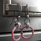 Rustic Muted Red Circle Earrings with Antiqued Silver