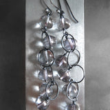 LITTLE ORBS - Soft Grey Glass Drop Earrings on Oxidized Silver Chain