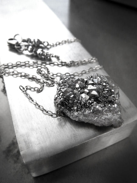 Rough Cut Druzy Necklace with Oxidized Sterling Silver
