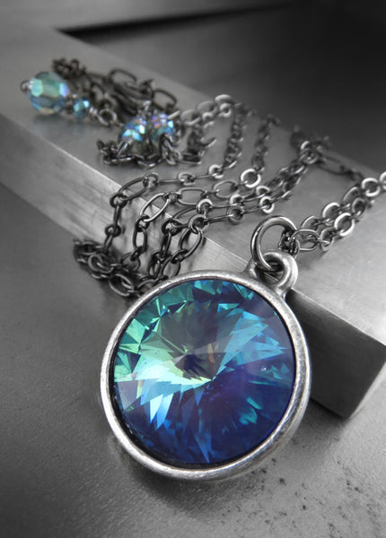 MYSTIC OCEAN - Swarovski Crystal Rivoli Necklace in Aqua, Blue, Mint Green