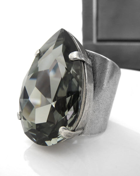 Large Teardrop Swarovski Crystal Black Diamond Ring - Unisex
