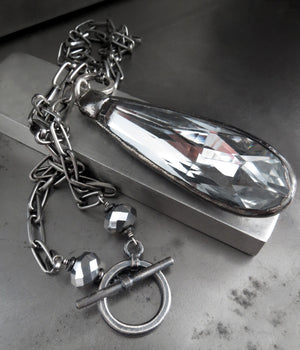 SOVEREIGN: Large Glass Teardrop Pendant Necklace with Distressed Mirror Finish