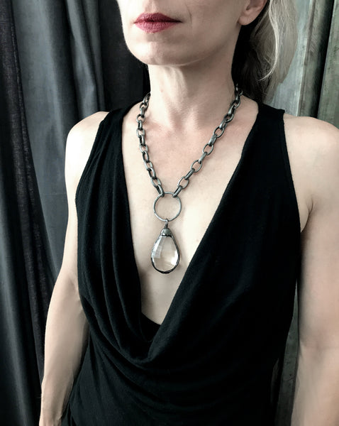 MEDIEVAL: Large Clear Glass Teardrop Necklace with Chunky Antique Silver Chain