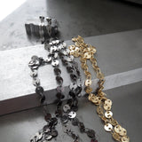 SHIMMER - Ultra Long Necklace in Sparkly Black and Gold Coin Chain