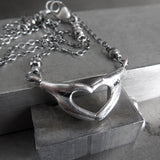 I Love You - Silver Heart and Hand Pendant Necklace