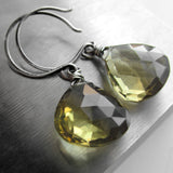 Dirti Martini - Olive Quartz Gemstone Briolette Earrings