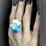 GLITZ - Huge Round Shimmer Swarovski Crystal AB Cocktail Ring