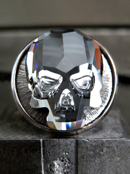 Crystal Skull Ring with Black Night Swarovski Crystal
