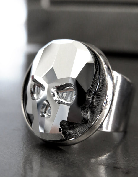 Crystal Skull Ring with Metallic Silver Swarovski Crystal