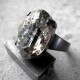Distressed - Swarovski Crystal Silver Patina Oval Cocktail Ring