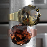 OF THE EARTH - Smoky Quartz and Dark Topaz Color Crystal Rings