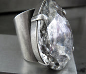 BEWITCHED - Large Modern Teardrop Swarovski Silver Patina Crystal Ring