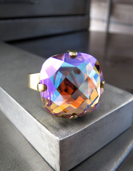 HARVEST - Swarovski Crystal Ring - Shimmer Golden Autumnal Colors