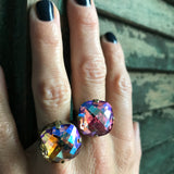 HARVEST: Large Swarovski Crystal Ring - Shimmer Golden Autumnal Colors