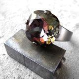 MIDNIGHT in the ROSE GARDEN - Dark Black Swarovski Crystal Ring with Rose Pink