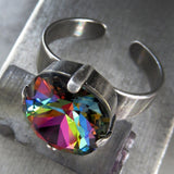 RAINBOW - Swarovski Crystal Ring with Antiqued Silver