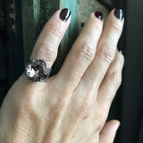 Unisex Pinky Ring with Swarovski Black Diamond Crystal