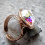 OTHER WORLD - Swarovski Crystal Ring with Crystal AB - Rose Gold