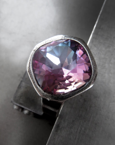 BLUSH CRUSH - Swarovski Crystal Ring in Soft Romantic Pink and Slate Blue