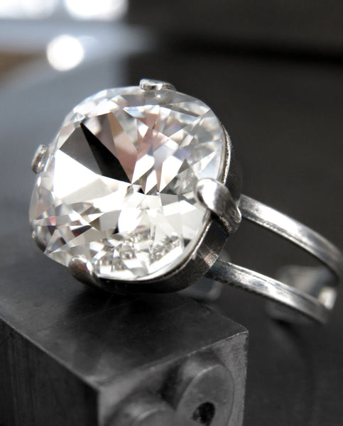 PROMISE - Swarovski Silver Shade Crystal Cocktail Ring
