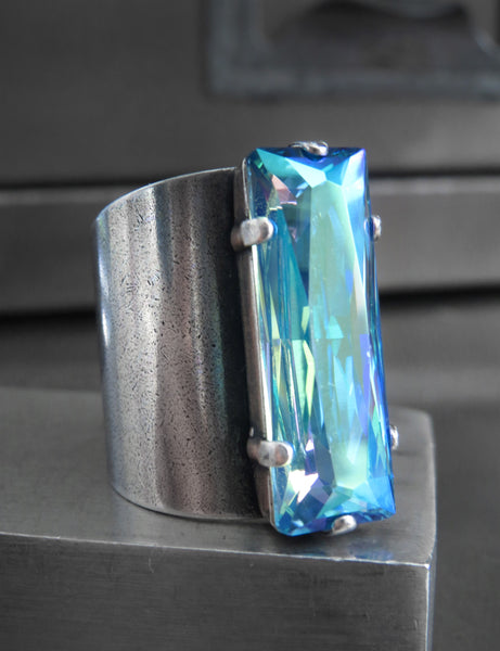 HYPNOTIZE - Limited! Cosmic Blue Swarovski Crystal Rectangle Ring on Wide Cuff Band