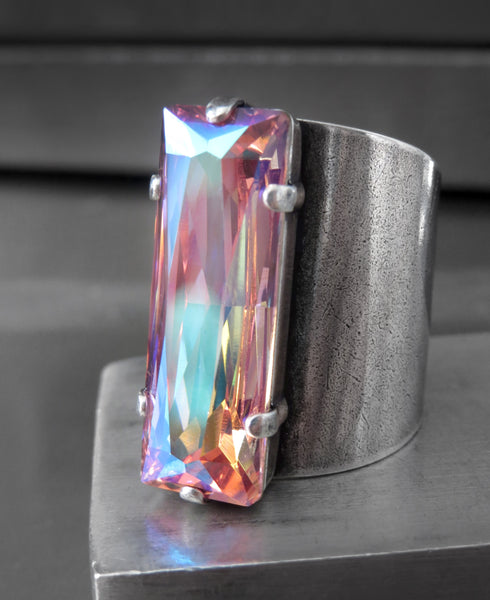 FASCINATION - Limited! Cosmic Pink Swarovski Crystal Rectangle Ring on Wide Cuff Band