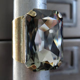 REFINED - Large Black Diamond Rectangle Crystal Ring - Vintage Gold