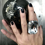 CLAIRVOYANT - Extra Large Brilliant Clear Crystal Cocktail Ring