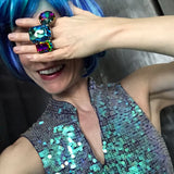 MYSTIC MERMAID - Gigantic Aqua Blue Swarovski Crystal Cocktail Ring