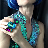 FABULOUS - Large Rectangular Swarovski Crystal Rainbow Cocktail Ring