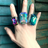 WIZARD - Huge Iridescent Swarovski Crystal Cocktail Ring