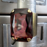 HALCYON II - Earthy Burgundy Crystal Ring - Antiqued Brass