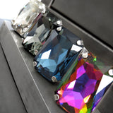 LUMINOUS - Large Rectangle Swarovski Crystal Ring with Vintage Silver Sheen