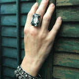 SHADOW - Large Black Diamond Rectangle Crystal Ring - Antiqued Silver