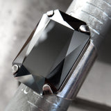 DARK REFLECTION - Large Metallic Gunmetal Black Swarovski Crystal Ring