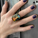 COGNAC - Unisex Rectangle Ring with Warm Amber Crystal