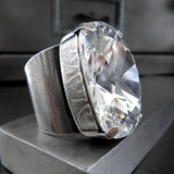 DIVINITY - Large Swarovski Crystal Cocktail Ring in Clear Crystal