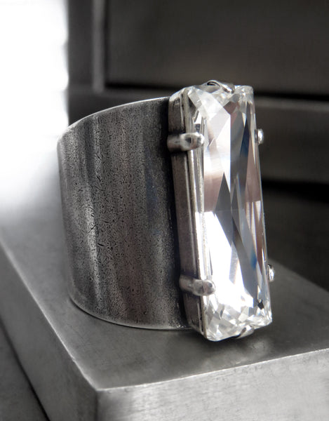 CONSTRUCT : PRECISION - Clear Swarovski Crystal Rectangle Ring on Cuff Band