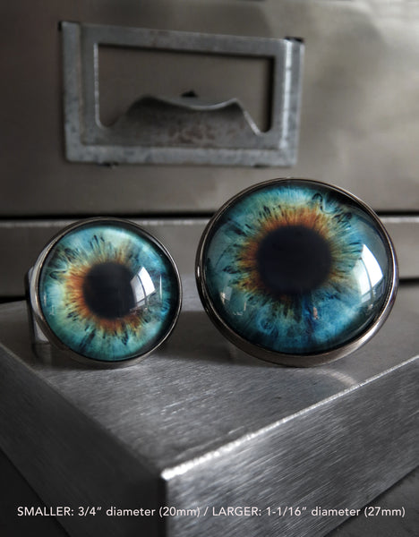 Gothic Halloween Eyeball Ring in Glossy Aqua - Two Sizes