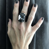 SINFUL - Bold Huge Swarovski Crystal Cocktail Ring in Black Night