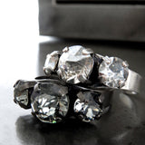PROHIBITION: Stacking Trio Crystal Rings with Choice of Metal Finishes
