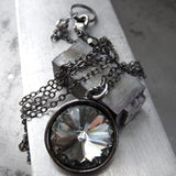 Black Diamond Swarovski Crystal Rivoli Pendant Necklace