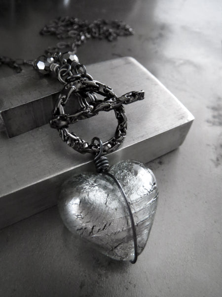 Gothic Silver Heart Pendant Necklace